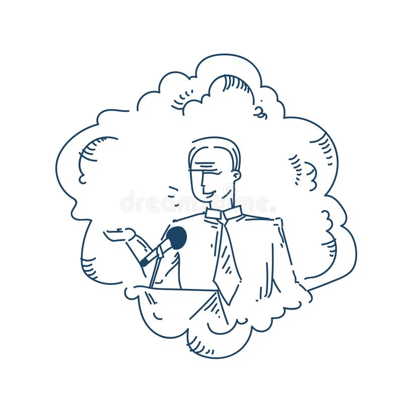 Man speaker microphone toastmaster speech at conference over white background sketch doodle vector illustration