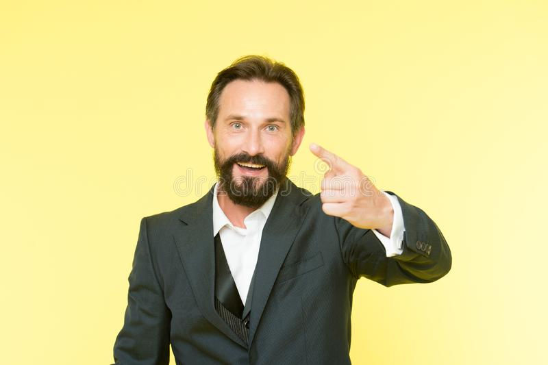 Man speaking to you. Art of negotiations. Man try to persuade you in something. Mature charismatic speaker try to. Persuade. Can you hear him. Public talk and royalty free stock image