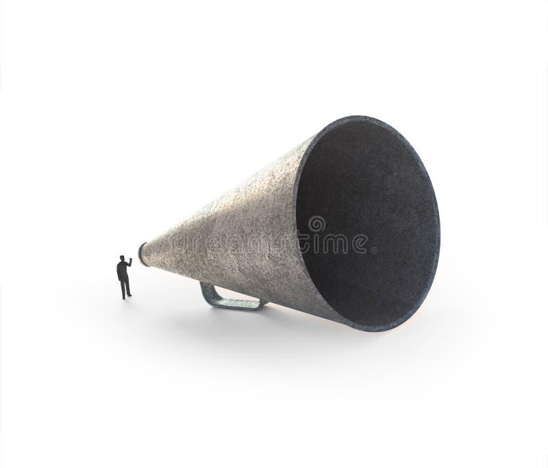 Download Man Speaking Through A Vintage Megaphone Stock Image - Image: 29416693