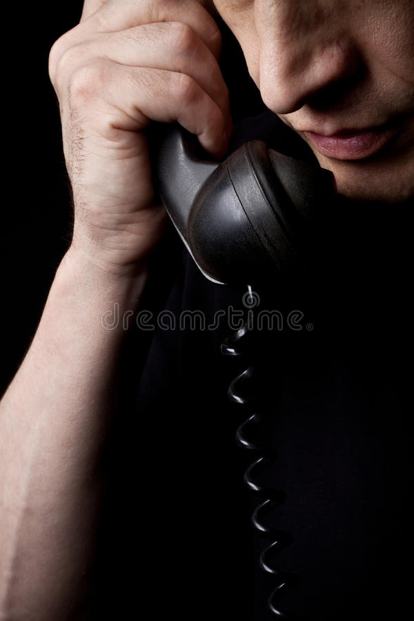 The man speaks by phone stock photos
