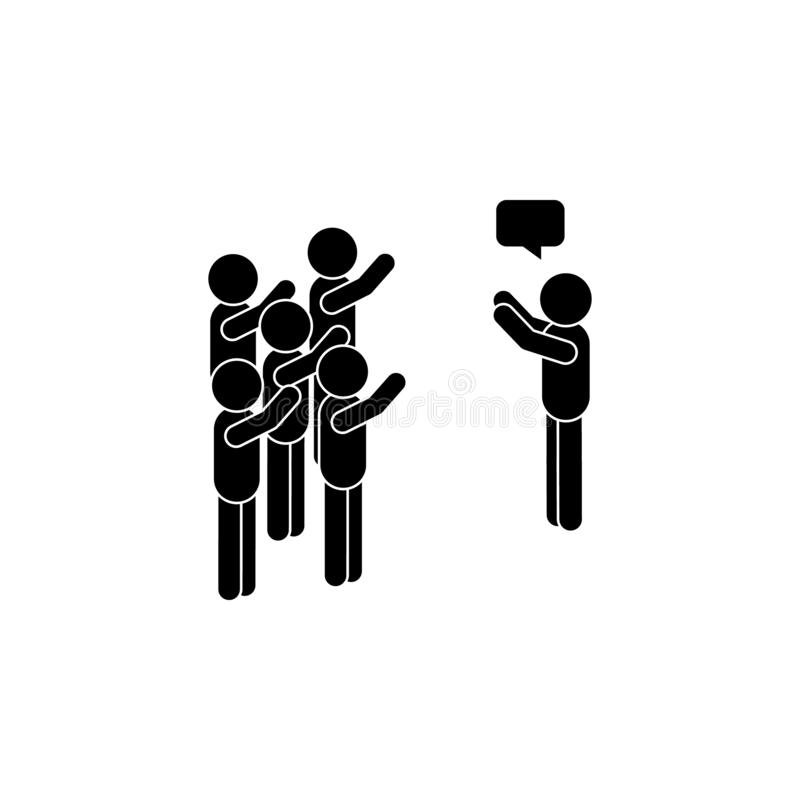 The man speaks to the crowd icon. Simple glyph, flat vector of People talk icons for UI and UX, website or mobile application. On dark gradient background royalty free illustration