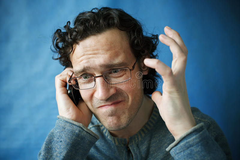 The man in spectacles stock photo