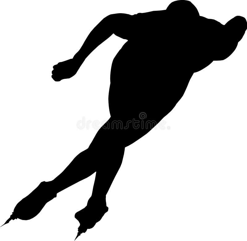 Man speed skaters. Black silhouette on white background vector Illustration stock illustration