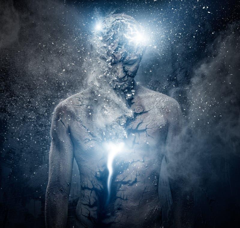 Man with spiritual body art. Man with conceptual spiritual body art