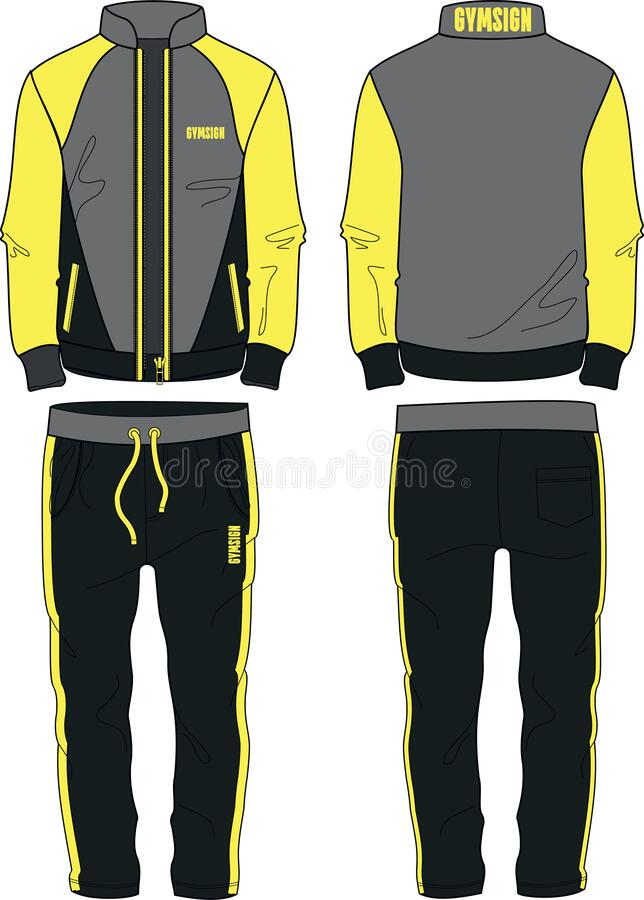 Free Man Sport Suit Coat Jacket Zipper And Joggers Pants Template Yellow Stock Photography - 182250542