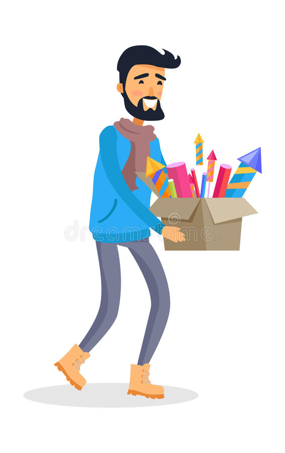 Man in Sportswear Carries Carton Box of Fireworks stock illustration