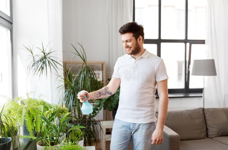 Man spraying houseplants with water at home. People, nature and plants care concept - man spraying houseplants by water sprayer at home royalty free stock images