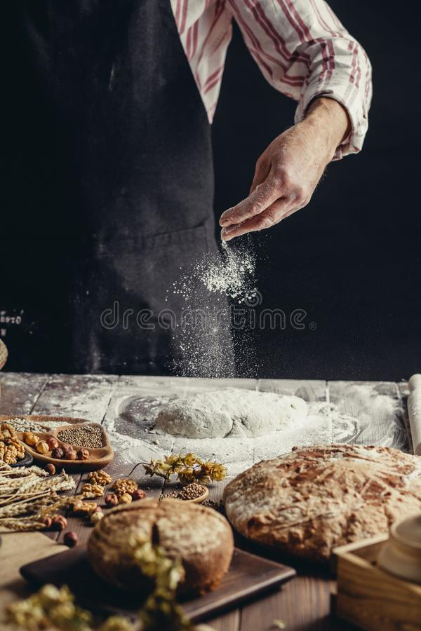 Man sprinkling some flour on dough. Hands kneading dough, cropped view. Man in black apron sprinkling some flour on dough isolated over dark studio background royalty free stock photo