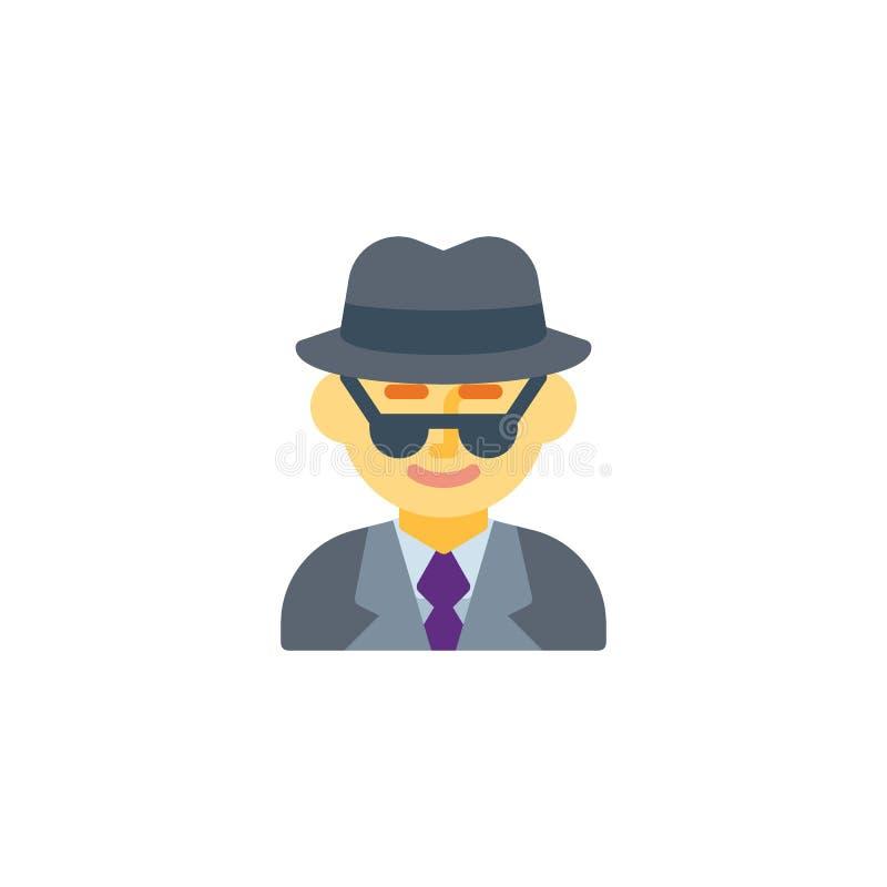 Man spy agent flat icon vector illustration