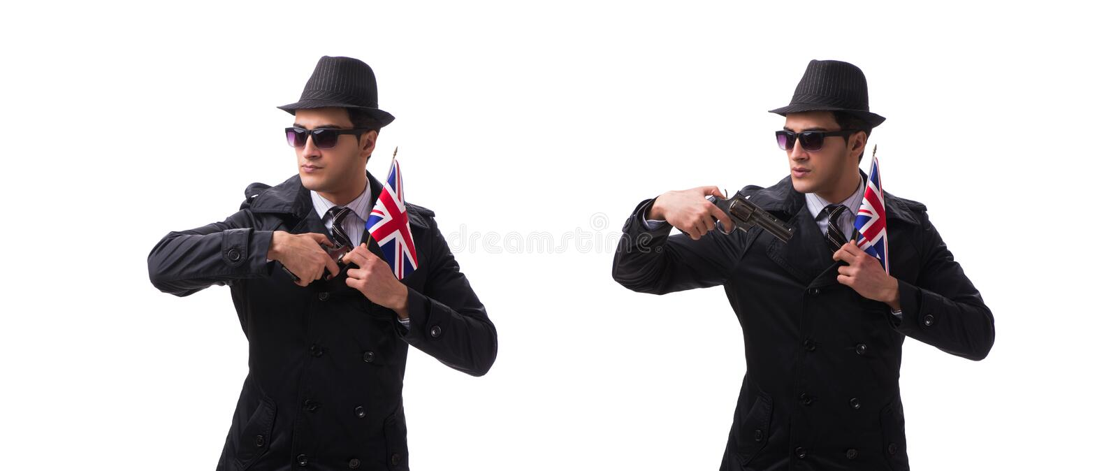 The man spy with handgun and usa flag isolated on white background royalty free stock photos