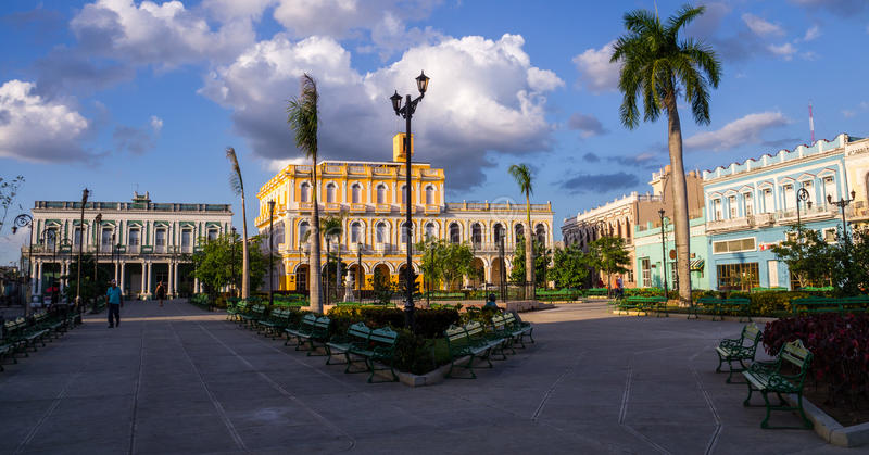 Man square of Sancti Spiritus, Cuba royalty free stock images
