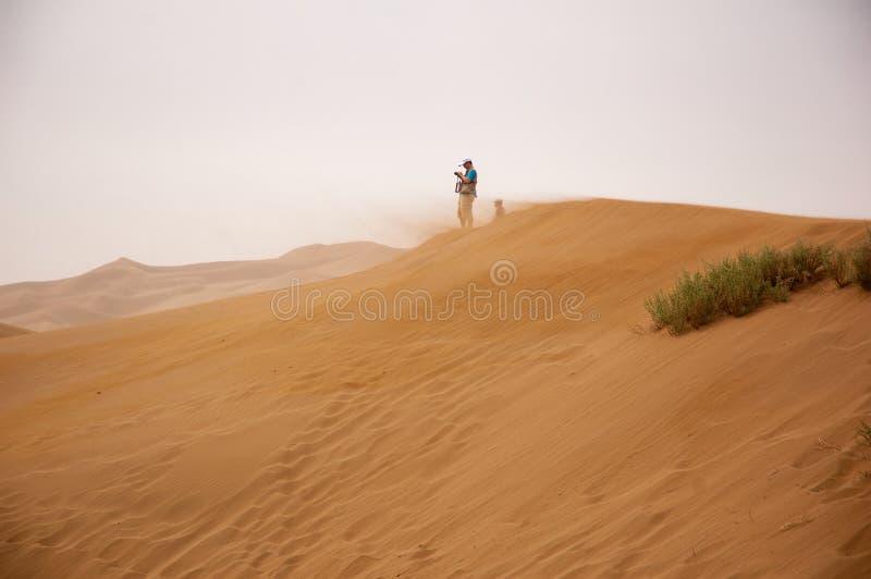 Man står vid Brown Sand under Gray Sky arkivfoto