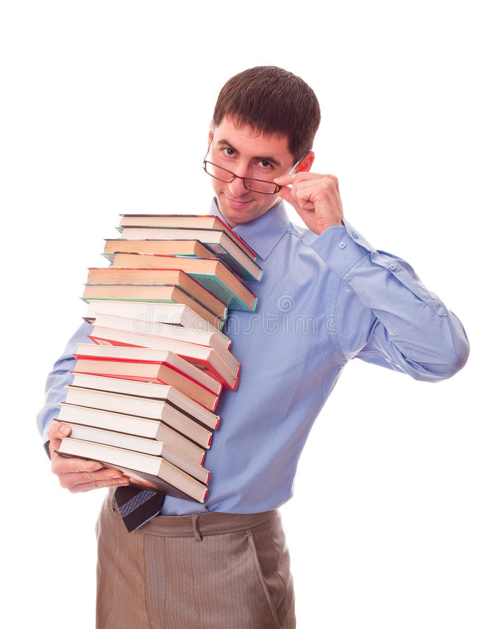 Man with stack of books stock photos