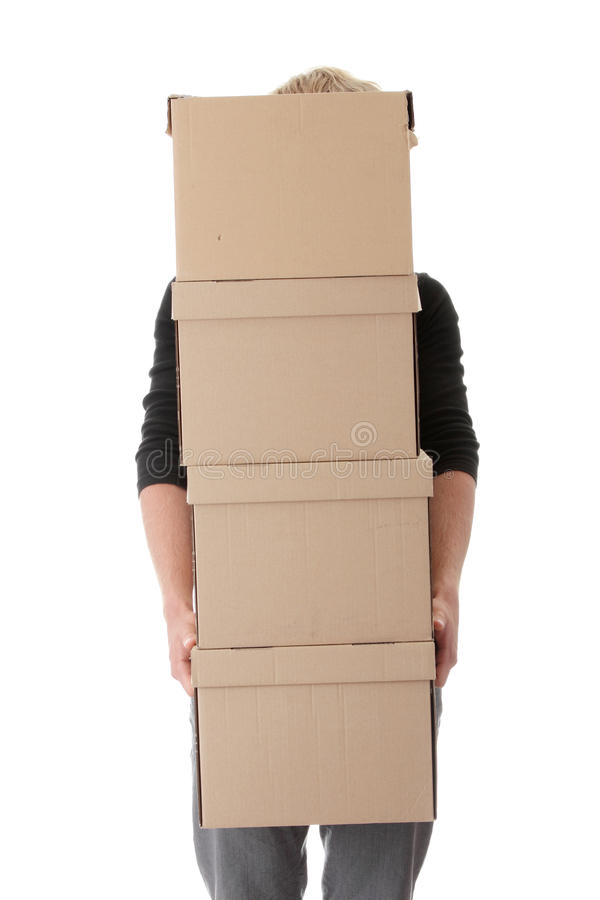 Man with stacked Boxes royalty free stock photography