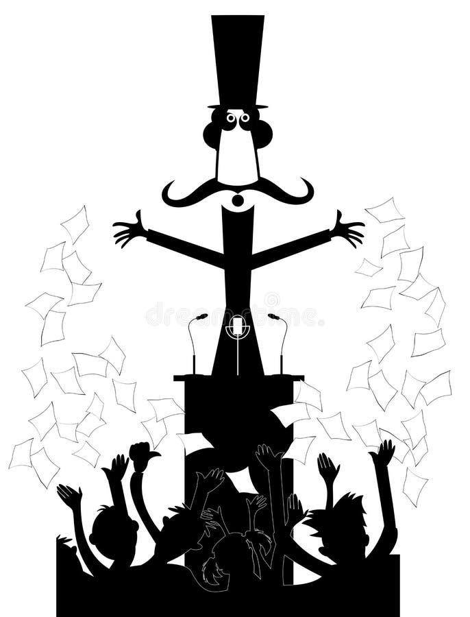 Man stag på tribun framme folkmassan av folket och gör ett anförande royaltyfri illustrationer