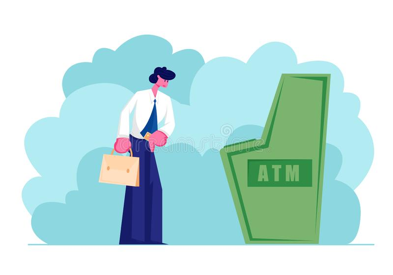 Man Stand at Automated Teller Machine Holding Credit Card in Hand, Character Want to Draw Money from Atm Businessman Visiting Bank. Man Stand at Automated Teller stock illustration