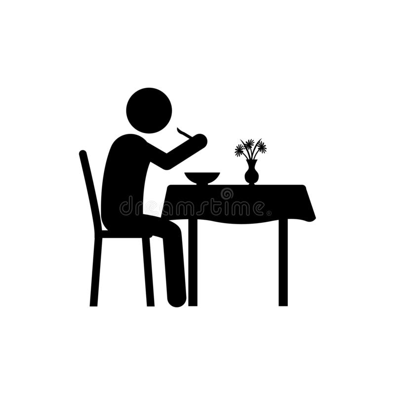 man stand, eat in restaurant icon. Element of dinner in a restaurant illustration. Premium quality graphic design icon. Signs and royalty free illustration