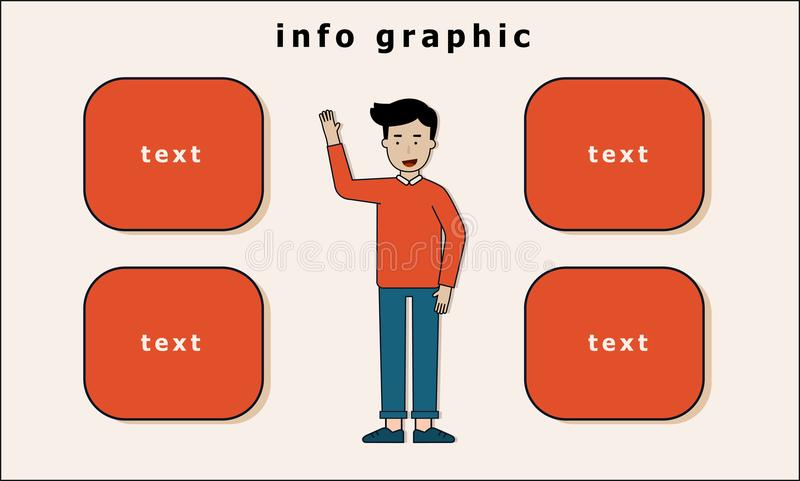 man stand and hand up info graphic vector illustration