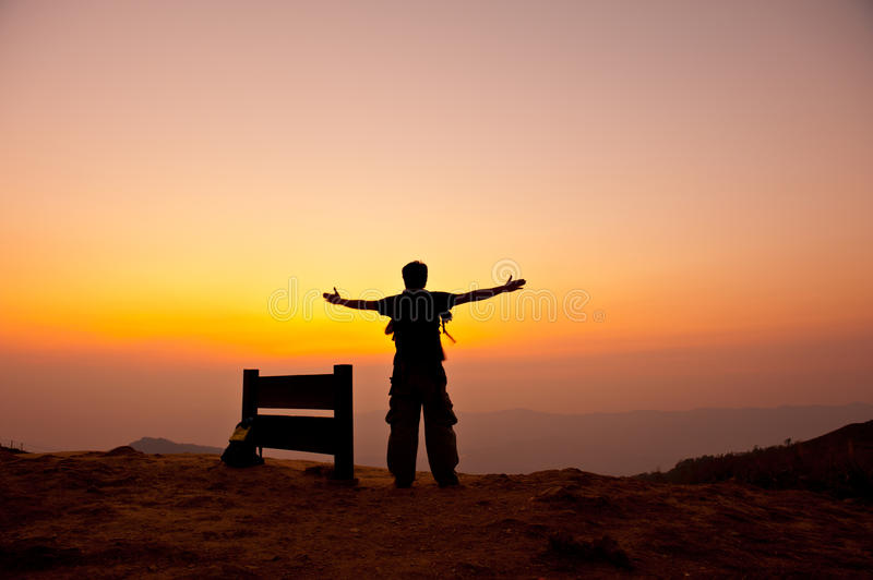 Download Man stand on mountain stock photo. Image of high, power - 24498956