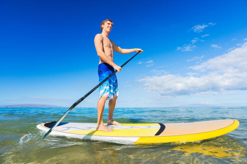 Download Man On Stand Up Paddle Board Stock Image - Image of paddleboarding, ocean: 33407691