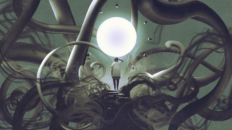 Man standing in abstract place with glowing circle stock illustration