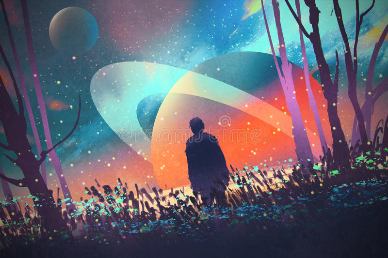 Man standing alone in forest with fictional planets background stock illustration
