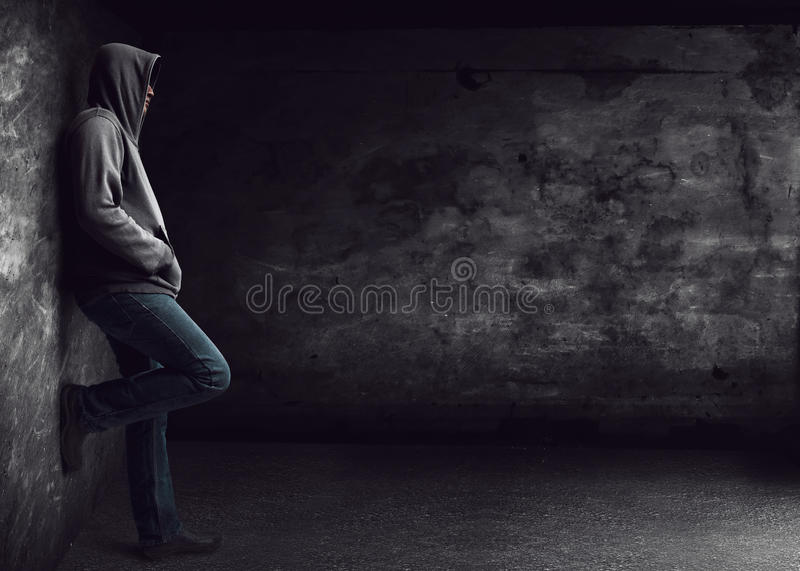 Man standing alone stock image