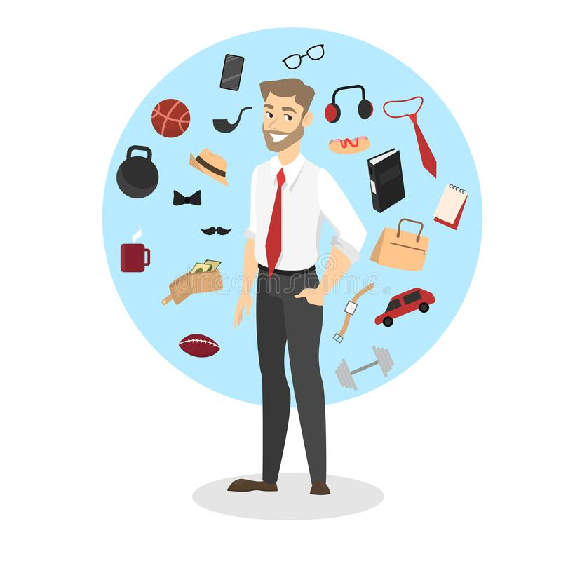 Man standing around every day accessories and devices. Collection of different things such as bag, clock and phone. vector illustration in cartoon style stock illustration
