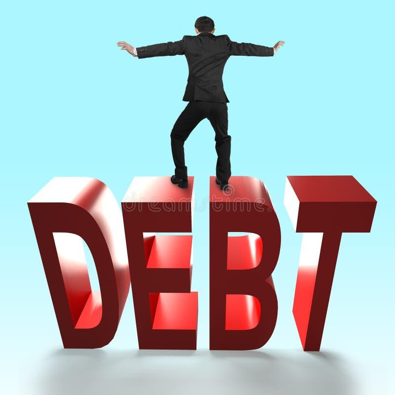 Man balancing on 3D red DEBT word falling. stock illustration