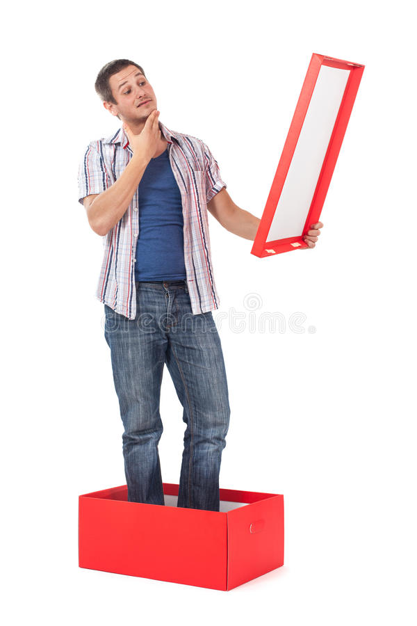 Download Man standing in a box stock photo. Image of people, thinking - 27807220