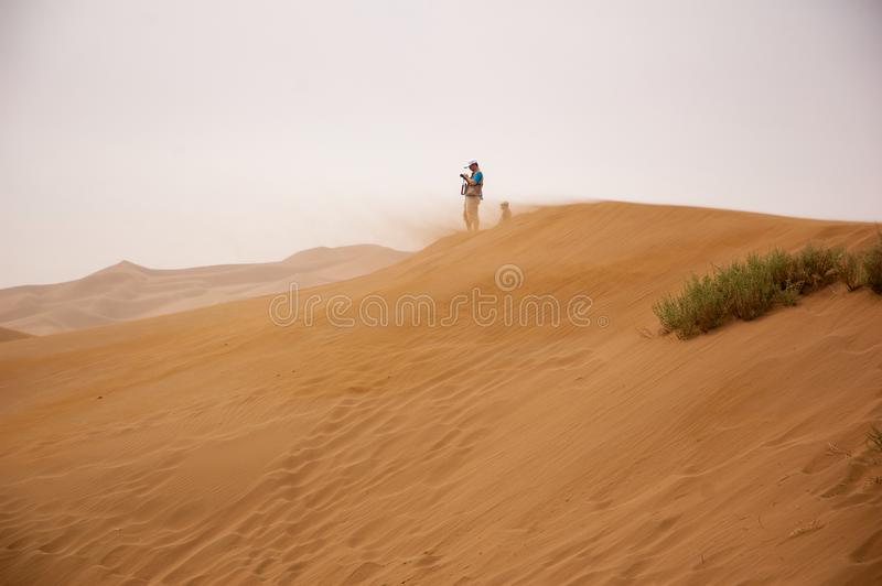 Man Standing on Brown Sand Under Gray Sky stock photo