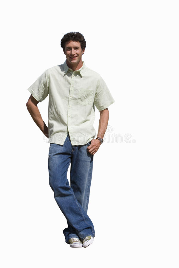 Man standing casually with hand behind back, cut out stock photos