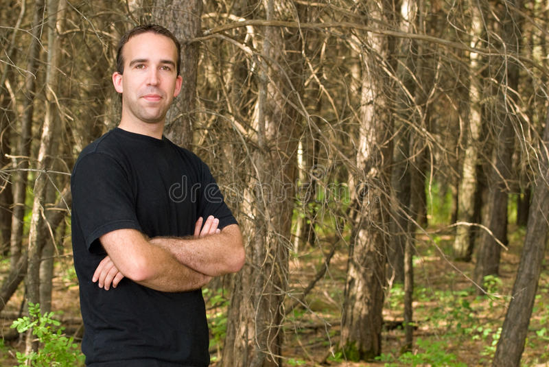 Man Standing In The Forest stock photos