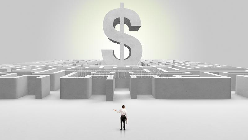 Man standing in front of a big maze stock image