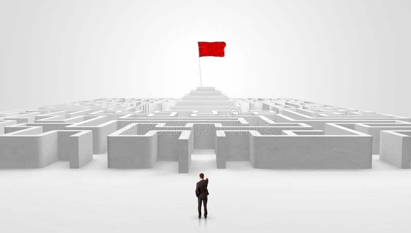 Man standing outside of a maze with pirate flag royalty free stock photo