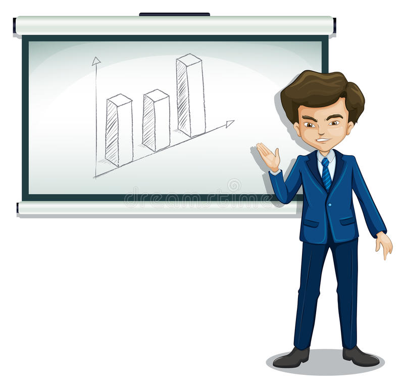 A man standing in front of a bulletin board with a graph. Illustration of a man standing in front of a bulletin board with a graph on a white background stock illustration