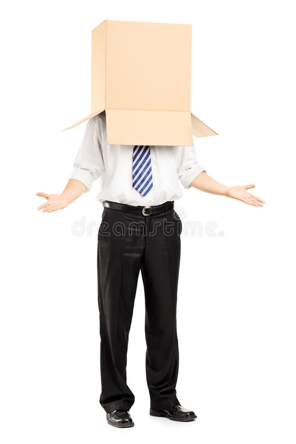 Download Man Standing And Gesturing With A Cardboard Box On His Head Royalty Free Stock Photography - Image: 33803207