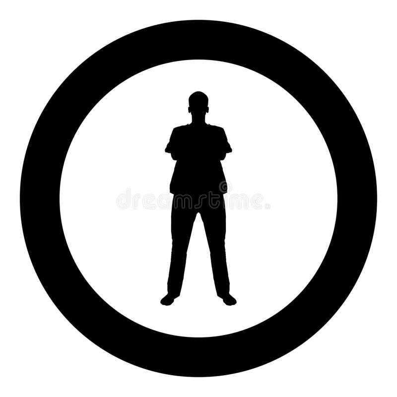 Man standing with hands crossed Dentist surgeon in medical clothes with folded hands on his chest Concept of the end of surgery. Operation Front view icon black stock illustration