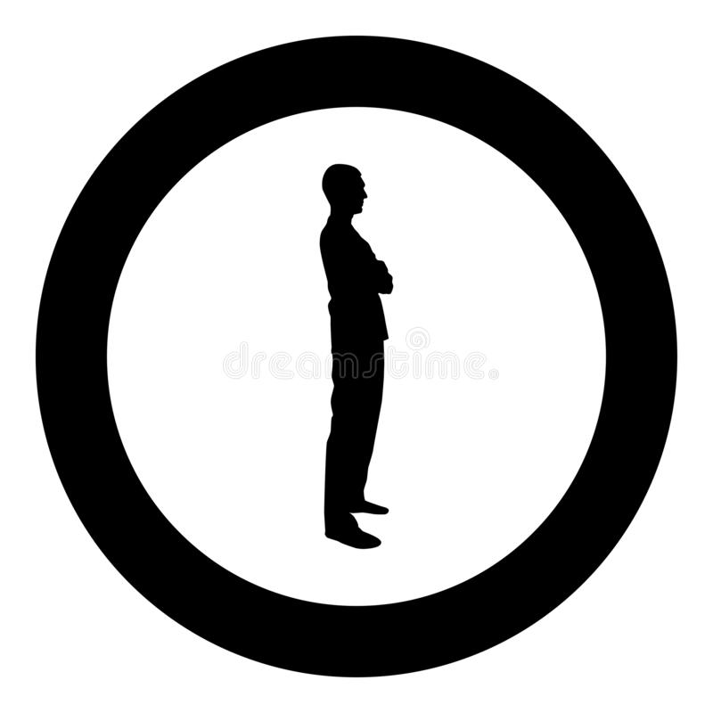 Man standing with hands crossed Dentist surgeon in medical clothes with folded hands on his chest Concept of the end of surgery. Operation Side view icon black vector illustration