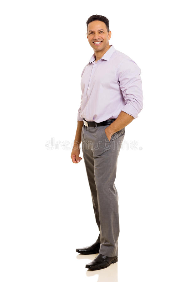 Man standing. Handsome man standing on white background royalty free stock photo