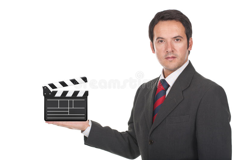 Download Man Standing And Holding Clapboard On His Hand Stock Image - Image: 22222939