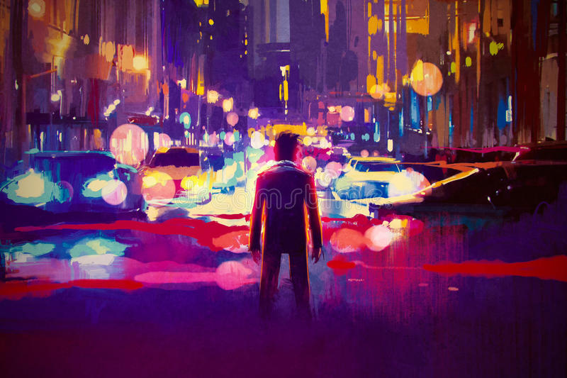 Man standing on illuminated street at night. Illustration painting stock illustration
