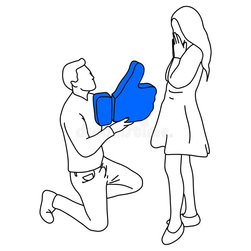 Man standing on knee making marriage proposal with like sign vector illustration sketch doodle hand drawn with black lines royalty free illustration