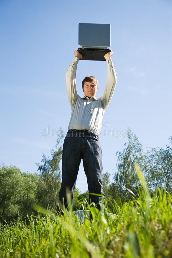Download Man standing on meadow stock photo. Image of happiness - 14947508
