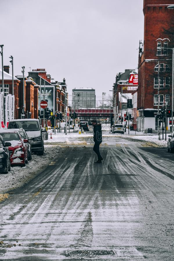 Man Standing in the Middle of the Road royalty free stock images
