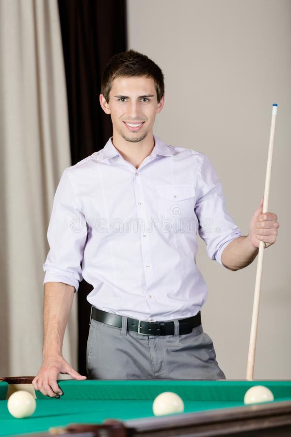 Man Standing Near Billiard Table Stock Photos