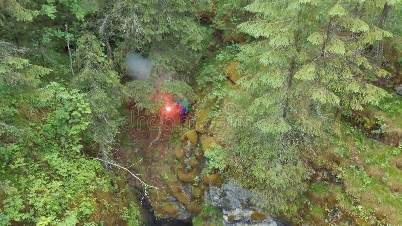 Man standing near the deep ravine with red signal flare in his hand in forest near the high old trees and shrubs. Stock stock photography