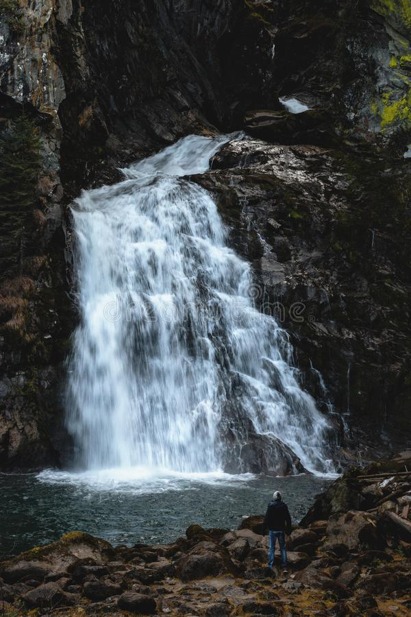 Man Standing Near Waterfalls royalty free stock image