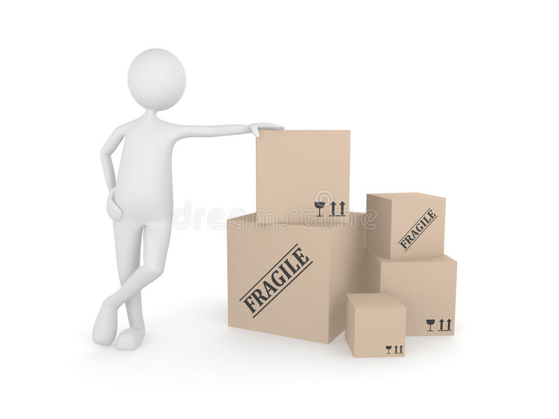 Download Man Standing Next To The Pile Of Cardboard Boxes Stock Illustration - Illustration: 11645614