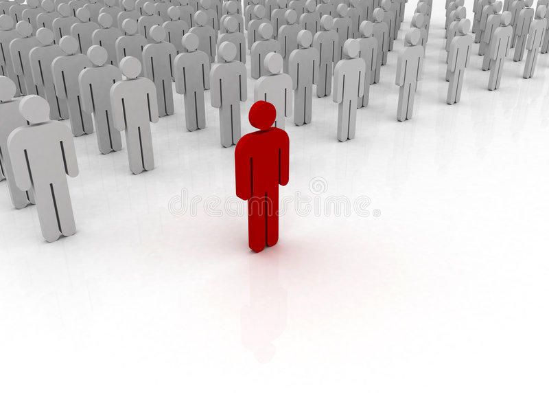 Man standing out from the crowd. Unique man standing out from the crowd of regular man stock illustration
